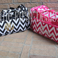 Monogram Personalized Chevron Duffle Bag