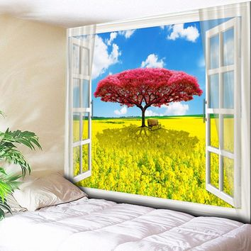 Psychedelic Blue Sky Red Tree Garden Painting Landscape Tapestry