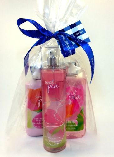 New Bath Body Works Gift Set Sweet Pea With Bag And Ribbon