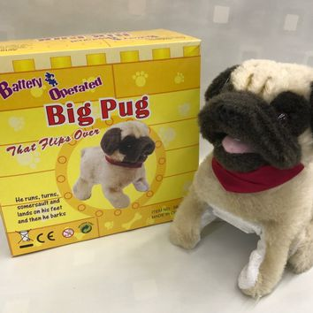 "Pug Big Puppy Flip Over Battery Operated 8"" SK-828"