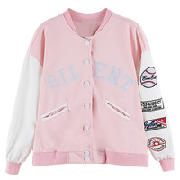 Pink Contrast Embroidery Letter Bomber Jacket with Badge Patch - Choies.com