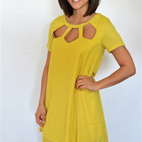 Weaved Neck Short Sleeve Dress
