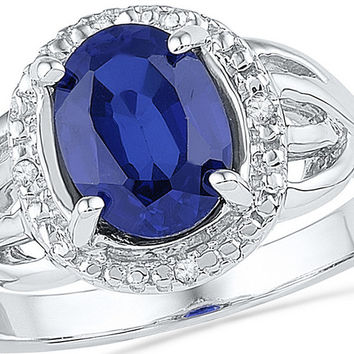 10kt White Gold Womens Oval Lab-Created Blue Sapphire Solitaire Diamond Ring .02 Cttw 100343