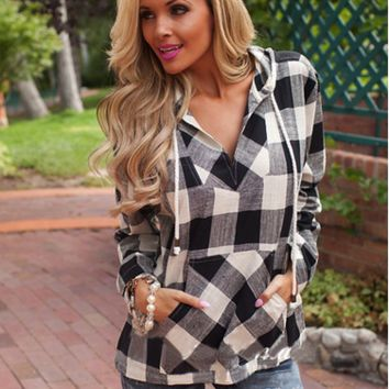 Plaid Print Pullover Long Sleeve Hoodie Shirt
