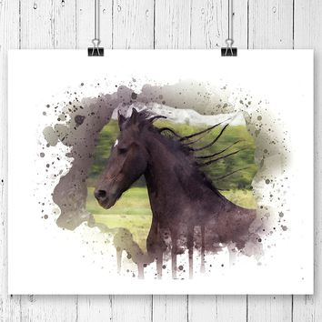 Horse Watercolor Art Print - Unframed