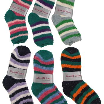 Cozy Socks 4-10 Lot of 6 Pairs Women Crew Kenneth Jones Fuzzy Warm Striped Pink