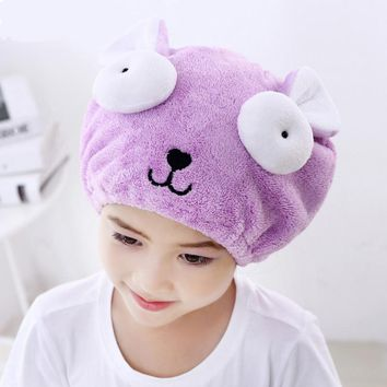 Cute Children Special Quickly Dry Hair Hat Womens Girls Ladies Cap Bath Accessories Drying Towel Head Wrap Hat