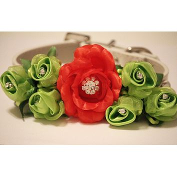 Red Green Wedding Dog  Accessory. Red Green Floral with Rhinestones -High Quality Leather Collar,  Wedding Dog Accessory