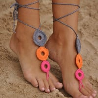 Crochet Barefoot Sandals, Nude shoes, Foot jewelry, Wedding, Victorian Lace, Sexy, Yoga, Anklet , Bellydance, Steampunk, Beach Pool