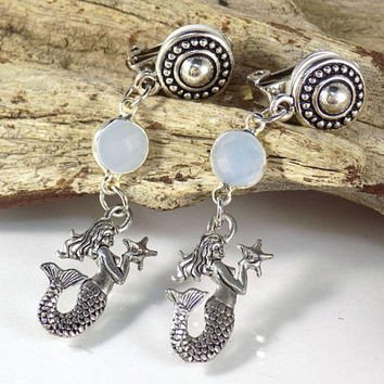 Clip on Earrings Dangle Earrings Gift for Her Gemstone Earrings Gift for Women Mermaid Earrings Handmade Jewelry Moonstone Earrings