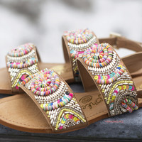 My Obsession Nude Multi Color Bead Sandals