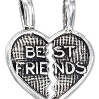"Sterling Silver Two Piece Break Apart Heart ""Best Friends"" Pendant"