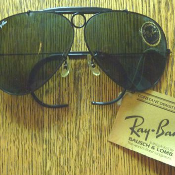 Vintage B&L Ray Ban USA Aviator Black Shooter G-15 L2817 Wrap Around Sunglasses