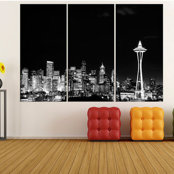 Washington Seattle skyline Canvas Print wall art, extra large wall art fine art print, large canvas art print, modern art, fine art bir19