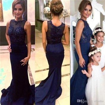 Navy Blue Lace Mermaid Bridesmaid Dresses 2016 Sheer Neck Applique Beaded Sequins Wedding Party Dress Prom Gowns