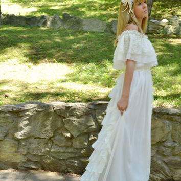 Lacen Ivory Wedding Dress Vintage Bohemian Gown - Maxi - Handmade by SuzannaMDesigns / Free Shipping