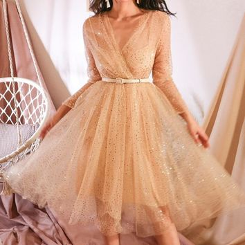 Le Palais Vintage Gauze Sequined Party Dress In Champagne