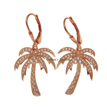 PINK ROSE GOLD PLATED SILVER 925 BLING CZ HAWAIIAN PALM TREE LEVERBACK EARRINGS