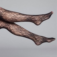 SALE-Black Floral Lace Tights
