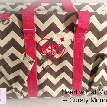 Grey Chevron with PINK Handles  Large  Organizer Tote Bag  perfect every Day Tote