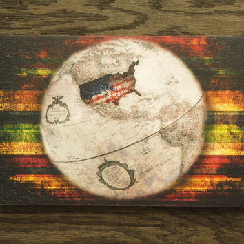 Globe Wall Art - Wooden Wall Art - US Map Wall Hanging - Wooden Wall Hanging - US Flag Wall Art - Wood Texture - Vintage Look - Home Decor