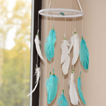 Woodland Mobile, Dream catcher Mobile, White Turquoise Dreamcatcher, Feather Baby Mobile.