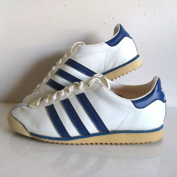 Vintage 1970s ADIDAS ROM Sneakers White Blue Stripe  Sport Shoes Womens US 8