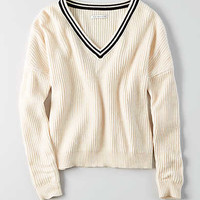 AEO Tipped Sweater, Cream