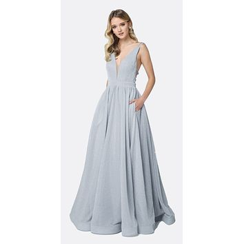 Plunging V-Neckline Long Glitter Prom Dress Silver A-Line