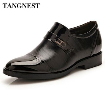 Tangnest Men's Shoes For Business 2017 New Spring PU Leather Dress Shoes Man Slip On Elevator Shoes Man Platform Flats XMP709