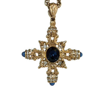 Maltese Cross Necklace- Blue and Gold Cross, Rhinestone Maltese Cross, Cross Pendant, Rhinestone Cross, Crusader Cross, Ornate Cross Pendant