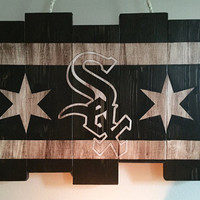 Chicago White Sox Small Wooden Stained Flag; Handpainted; Chicago Flag; Baseball Decor; Mancave; Wooden Sign; Wood Wall Art; World Series;