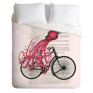Coco de Paris Octopus On Bicycle Duvet Cover