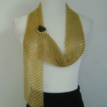 Unique Medieval Gold Chainmail Chain Mail Body Jewelry Accessories Armour Chain Maille Scarf Belt Necklace w/ Fancy Cut Amber Glass at Ends