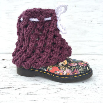 Lace Boot Covers, Lace Cowgirl Boots, Chunky Lace, Purple Boots, Lace Knitting, Knitted Boot Covers, Boot Covers, Handmade Boot Covers