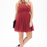 FOREVER 21 PLUS Tulle & Lace Dress Burgundy