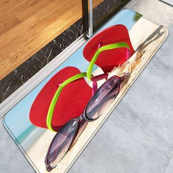 Beach Slippers Sunglass Flannel Bathroom Rug
