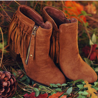 Orion Fringe Booties - Tan