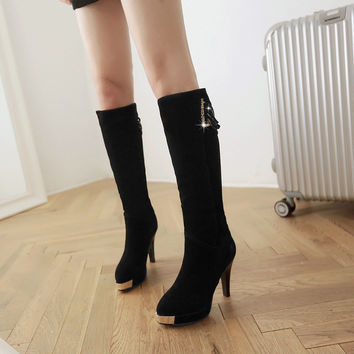 Suede Pointy Toe High Heel Knee High Boots