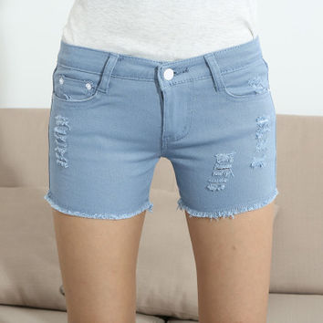 Fashion Plus Size Candy Color Wash Jeans Shorts Women Sexy Ripped Short Pants  Summer Casual Denim Shorts