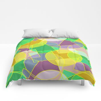 Colorful abstract geometric pattern Comforters by Natalia Bykova