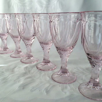 Pink Wine Glasses, Noritake Sweet Swirl, Retro Pink Water, Crystal Clear Pink, Vintage Noritake, Pink Serving Glass, Pretty. Really Pretty.