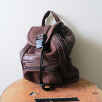 90s Leather Backpack Small Knapsack Brown Genuine Leather Drawstring Urban Cycling Bag