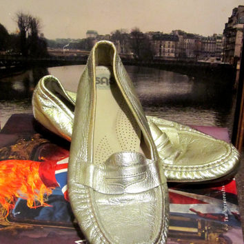 Vintage Metallic Cool Gold Penny Loafers sz 10 from SAS
