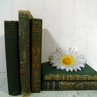 Collection of Green & Gold Ornate Petite Antique Books for Decor or Display - Set of 5 Old Poetry Prose Literature Books in Green Bindings