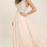 Principessa Blush Beaded Maxi Dress