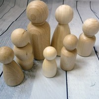 Wood Peg Dolls Wood Peg Toy People Family Doll Bodies Paint Your Own Wood Dolls Unfinished Waldorf Families of Seven wooden peg family