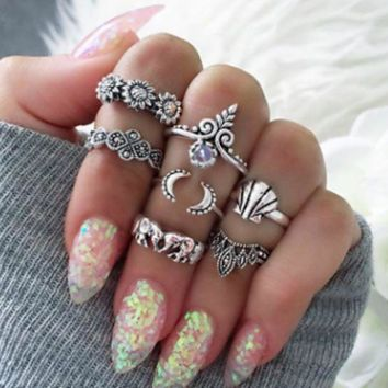 ac NOVQ2A 7 Piece Set Vintage Ring Set Sunflower Shell Elephant Crown Moon Joint Ring Set
