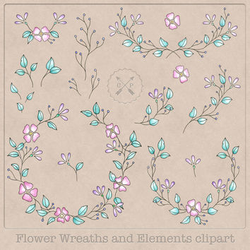 Watercolor Floral Wreaths and Laurels clipart handdrawn clip art great for wedding invitations card making scrapbooking web graphic design
