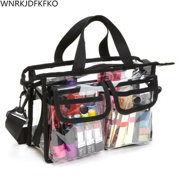 LUVODI PVC Colorful Clear Cosmetic Organizer Bag Rainbow Color Makeup Case with Adjustable Shoulder Strap for Travel & Daily